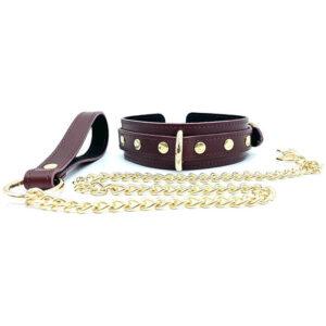"Collar and Leash ""Mona"" Burgundy"